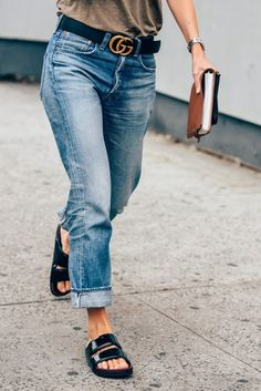 belted boyfriend jeans - Spotted: Denim