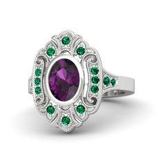 Oval Rhodolite Garnet Sterling Silver Ring with Emerald | Arya Ring | Gemvara