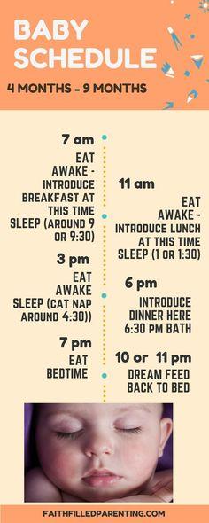 The ideal baby schedule for month old children! The ideal baby schedule for month old children! Baby Schedule 4 Months, Baby Sleep Schedule, 4 Month Old Schedule, 6 Months, Baby Feeding Schedule, Baby Schlafplan, Diy Baby, Baby News, Baby Monat Für Monat
