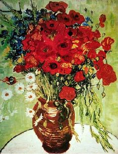 Vincent van Gogh:  Still Life Red Poppies and Daisies.  Oil on canvas.  Auvers-sur-Oise: June, 1890.  Private collection.