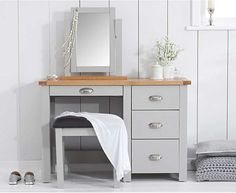 Shop the Somerset Oak and Grey Dressing Table Set at Oak Furniture Superstore. Grey Painted Furniture, Oak Bedroom Furniture, Bedroom Sofa, Bedroom Inspo, Bedroom Decor, Dressing Table For Sale, White Dressing Tables, Table Dressing, Makeup Room Diy