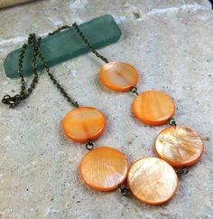 Orange Zinnia Necklace  orange shell beach ocean by MySoulCanDance