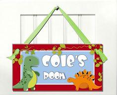 roar dinosaur boys door sign - dino theme room decor - wall art kids gift. $8.99, via Etsy.