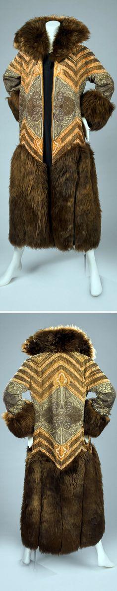 Evening coat, Paul Poiret, 1922. Silk, metallic yarn, cut steel beads, and fur. Rhode Island School of Design Museum