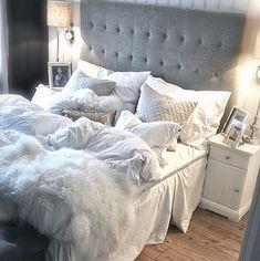 bedroom decor, button back headboard, white, grey