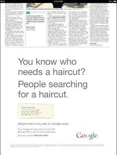Anúncio do Google em jornal. E você ainda acha que somente anunciar online resolve?