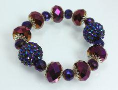 Purple Disco Ball and Crystal Bracelet, $26