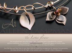 Nice example of signature style in header and marketing page...Ai Jewelry — Leaf and Lotus Flower necklaces