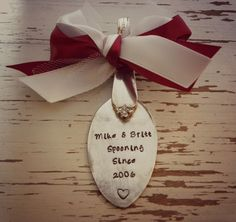 Spoon ornament SPOONING SINCE - personalized with your own colors, names, and date - silver plated - heart - antique - vintage