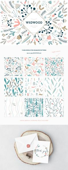 I would like to introduce you a new set of floral patterns in two colors: light and bright! Wildwood collection includes handmade and carefully digitalized patterns, wreaths and bouquets. They are available to mix and match for your design projects. Design Textile, Design Floral, Boho Pattern, Illustration Inspiration, Graphic Illustration, Scandinavian Pattern, Cute Quilts, Graphic Patterns, Floral Patterns