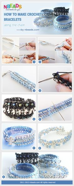 #DIY Summary: Today's tutorial is how to make crochet bracelets. To make the bracelet you have to learn crochet a chain with yarn threads and then string beads to the chain with threads. It is simpler for those who are good at crocheting. Besides, the other ty
