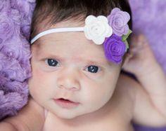 Diadema flor de bebé  diadema flor fieltro por SuperAdorable