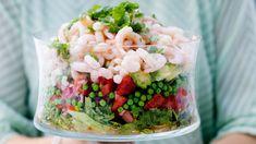 raikas katkarapusalaatti Prawn Salad, Acai Bowl, Salads, Yummy Food, Fresh, Cooking, Breakfast, Sweet, Recipes
