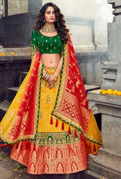 Buy Now Yellow & Red Designer Party Wear Banarasi Lehenga Choli Ghagra Choli, Simple Lehenga Choli, Banarasi Lehenga, Lehenga Choli Online, Silk Dupatta, Anarkali, Wedding Lehenga Designs, Designer Bridal Lehenga, Indian Bridal Lehenga