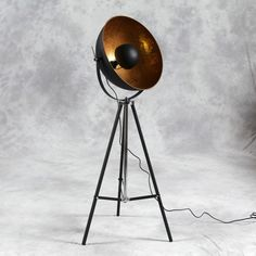 Large Black Tripod Spotlight Floor Lamp with Gold Inner Shade   Lighting   Reed Interiors Furniture
