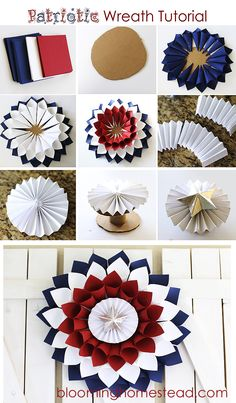 -Patriotic Wreath, supply list & instructions, by Blooming Homestead DIY Patriotic Wreath - Page 2 of 2 - Blooming Homestead We have chosen 15 Low Cost DIY Patriotic Wreaths that you can do in no time. These wreaths are inspired from the colors and symbo Patriotic Wreath, Patriotic Crafts, July Crafts, Summer Crafts, Diy And Crafts, Paper Crafts, Patriotic Costumes, Diy Paper, Fourth Of July Decor