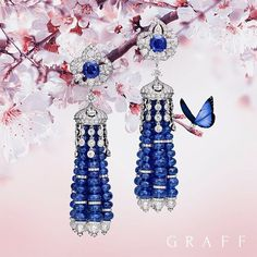 Be stunning with this Tantalising tassels. Incorporating more than 175 sapphire beads these exquisite jewels exemplify the attention to detail required in the process of colour matching gems and are beautifully complemented by shimmering diamonds by Graff Jewelry, Tassel Jewelry, Gems Jewelry, Tassel Earrings, Luxury Jewelry, Gemstone Jewelry, Fine Jewelry, Lotus Jewelry, Silver Jewellery