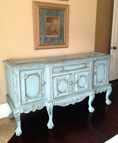 Vintage ornate buffet hand painted in Chalk Paint® Duck Egg over French Linen with a light distress and clear wax finish. Edwin Loy Home. Refurbishing Furniture, Painted Buffet, Using Chalk Paint, Duck Egg Blue, Hand Painted Furniture, Annie Sloan, Furniture Ideas, Wax, New Homes