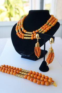 African traditional wedding jewelry designed by oyindoubara Coral Jewelry, Jewelry Sets, Beaded Jewelry, Handmade Jewelry, Beaded Necklace, Necklaces, Coral Bracelet, Bracelets, Wedding Jewellery Designs