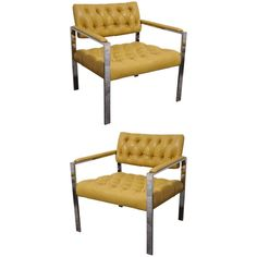 Pair of Tufted Leather and Chrome Club Chairs | From a unique collection of antique and modern living room sets at https://www.1stdibs.com/furniture/seating/living-room-sets/