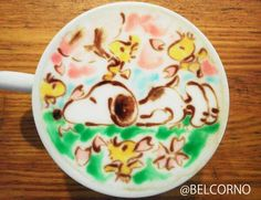 """latte art """"Snoopy and Cherry blossom"""""""