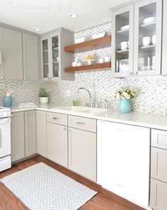 gray white kitchen remodel - vinyl floors and formica countertops, like the hardware too Kitchen Design, Kitchen Decor, Kitchen Ideas, Small Kitchen Cabinets, Open Kitchen, Cupboards, Gray And White Kitchen, Beige Kitchen, Beige Cabinets