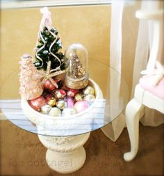 vintage ornaments under glass...instant table