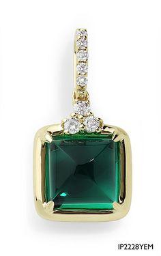 sugarloaf emerald and diamond pendant, my favorite shape of emerald, rare!