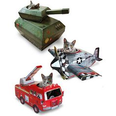 """These are so cool (but a little overpriced for what you get and because my cats are on the """"large"""" side, I had to modify the fire truck for them...."""