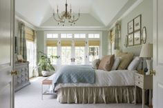 Hollingsworth Green by Benjamin Moore has a very soothing spa like feel. Reads like a sage green with a blue undertone. #coachbarn #masterbedroom