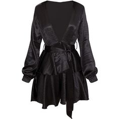 Black Hammered Satin Plunge Layered Skater Dress (11.195 HUF) ❤ liked on Polyvore featuring dresses, layered dress, satin plunge dress, double layer dress, multi layer dress and plunge dress