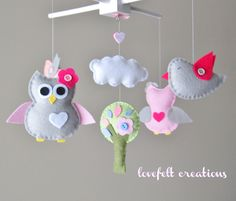 Baby Crib Mobile  Baby Mobile  Owl and birds by LoveFeltXoXo, $97.00