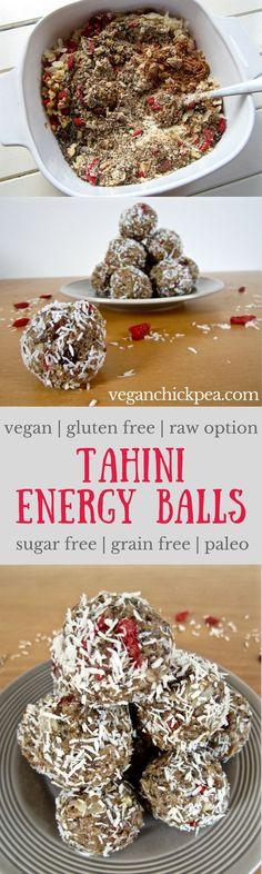 Tahini energy balls recipe - quick & easy to make with 4 - 5 grams of protein each! vegan, gluten free, sugar free, paleo, raw option | veganchickpea.com