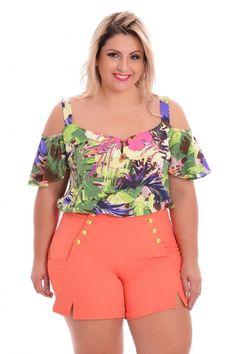 Ciganinha plus tropical - vk moda plus size blusas летняя мо Curvy Fashion, Plus Size Fashion, Girl Fashion, Fashion Outfits, Womens Fashion, Looks Plus Size, Curvy Plus Size, Plus Size Dresses, Plus Size Outfits