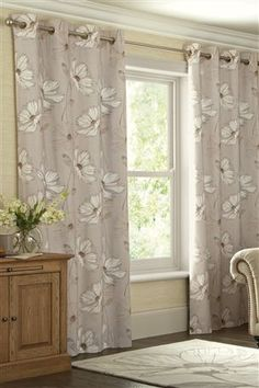 Buy Natural Serena Floral Printed Eyelet Curtains From The Next UK Online Shop