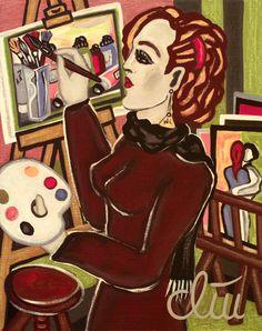 JACQUELINE DITT - The universal Painter A4 DRUCK print n.Gemälde Bilder Giclee