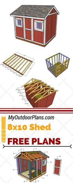 Check out free 8x10 shed plans for you to build storage space in your garden. Follow my step by step free 8x10 shed plans and the instructions at myoutdorrplans.com #shed #diy