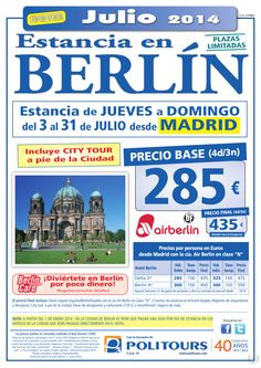 Estancia en BERLÍN, sal. Jueves del 17 al 31 de Julio desde Madrid (4d/3n) precio final 435€ ultimo minuto - http://zocotours.com/estancia-en-berlin-sal-jueves-del-17-al-31-de-julio-desde-madrid-4d3n-precio-final-435e-ultimo-minuto/