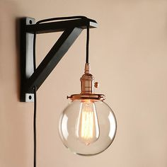 Pathson Industrial Stylish Plug in Wall Light Sconce Lamp Fixture Copper Lights with Globe Glass Lampshade for Loft Bar Kitchen Restaurant Plug In Wall Lights, Bedside Wall Lights, Plug In Wall Sconce, Bedside Lighting, Wall Sconce Lighting, Plug In Pendant Light, Copper Lighting, Modern Wall Sconces, Wooden Lamp