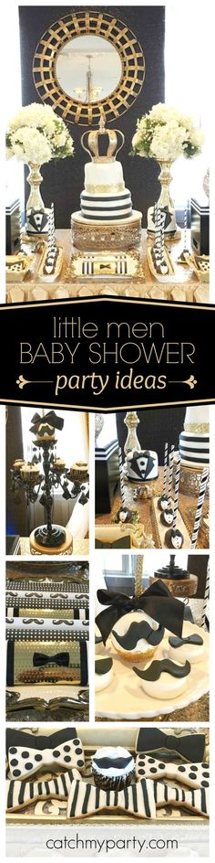 You don't want to miss this super 'Little Men' Baby Shower. The gold and black dessert table is stunning!! See more party ideas and share yours at http://CatchMyParty.com
