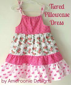 Tiered Pillowcase Dress TUTORIAL featuring Melissa Mortenson's Wonderland fabric collection #iloverileyblake #FabricIsMyFun