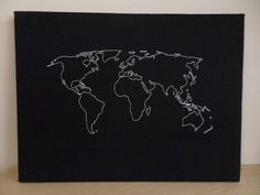 World Map Cork Notice Board. Personalised Pin Board. Customise with Map Pins