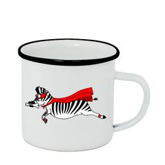 Plecháček - smaltový lem s potiskem Superzebra Laura plecháček Mugs, Tableware, Dinnerware, Tumblers, Tablewares, Mug, Dishes, Place Settings, Cups