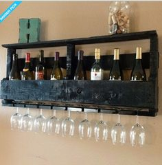 Pallet wine rack with glass rack.