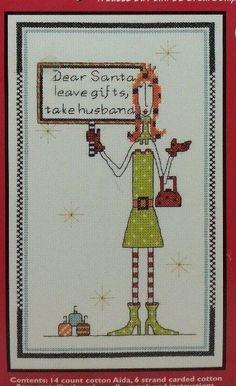 Counted Cross Stitch Kit Dolly Mamas DEAR SANTA LEAVE GIFTS #019-0423 Janlynn #Janlynn #Multi