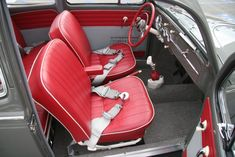 Interior seat belts, red and grey