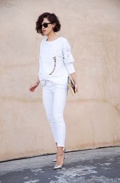 Zara sweatshirt, J Brand jeans, vintage jewelry, Jimmy Choo pumps, Ray-Ban sunglasses, and Balenciaga clutch