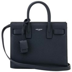 Pre-owned Saint Laurent Nano Sac De Jour Grained Leather Navy Tote Bag (£1,545) ❤ liked on Polyvore featuring bags, handbags, tote bags, navy, tote purses, yves saint laurent, pre owned handbags, navy blue handbags and yves saint-laurent tote