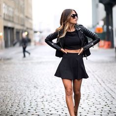 Winter Fashion Crop Top Leather Biker Jacket Skater Pleated Skirt Style Trend
