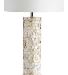 Mosaic pearl cylindrical lamp base. Shell chic at its best!
